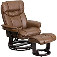 MFO Contemporary Palimino Leather Recliner and Ottoman with Swiveling Mahogany Wood Base