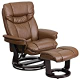 My Friendly Office MFO Contemporary Palimino Leather Recliner and Ottoman with Swiveling Mahogany Wood Base Review