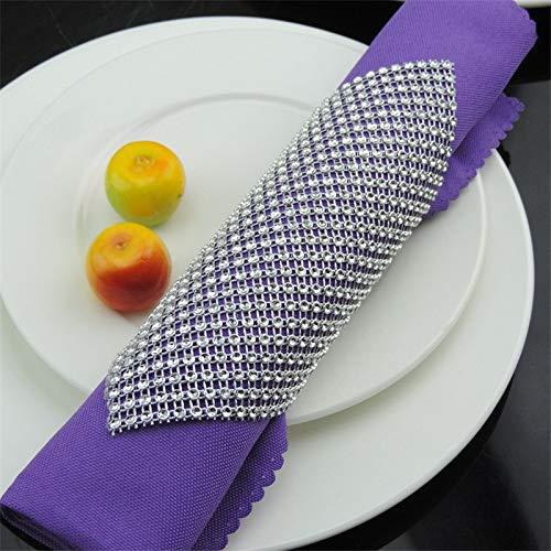 ic Shining Wedding Napkin Rings Diamante Mesh Napkin Buckle Holder Christening Bangle Party Decoration Supplies ()