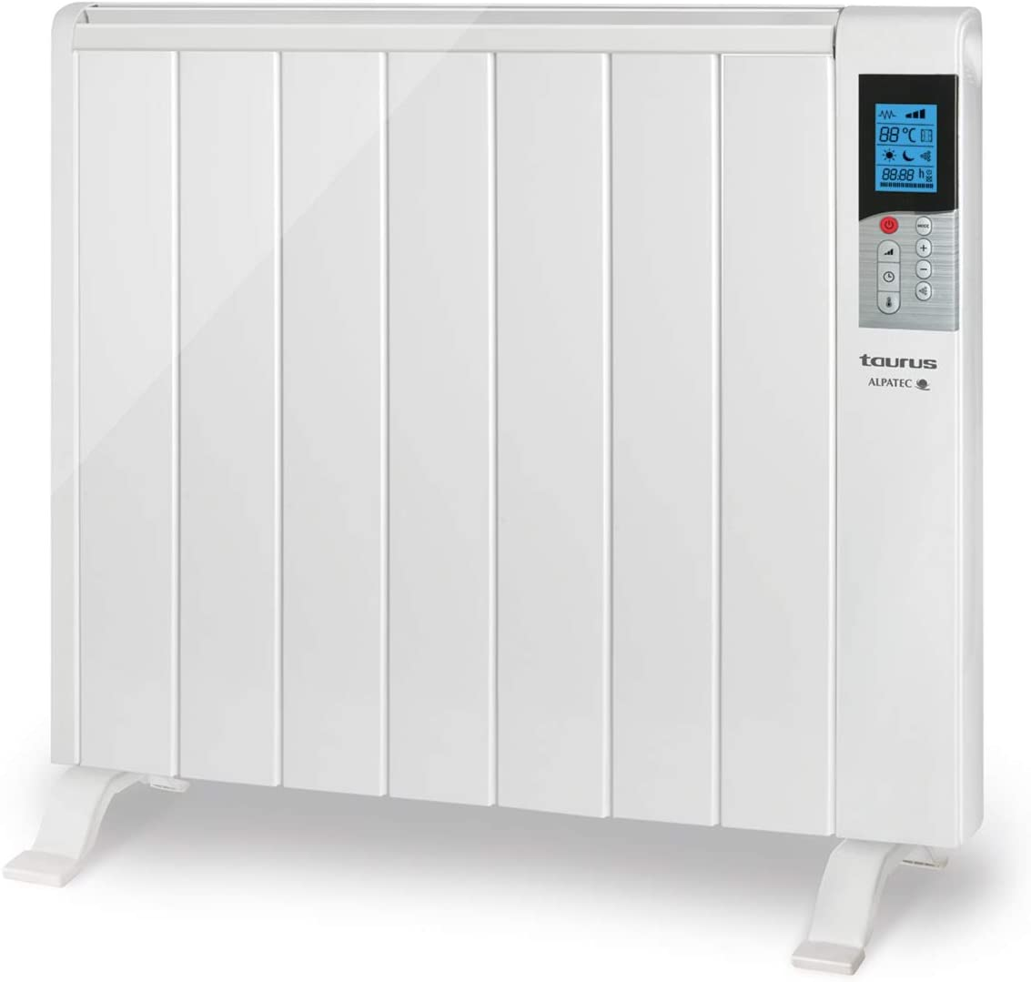 Taurus Tanger 1500 - Emisor térmico con tecnología seca, programación diaria-semanal, temperatura hasta 35ºC, 2 modos de funcionamiento confort y económico, función ventana abierta, 7 elementos, 1500W