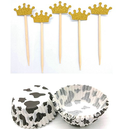 Hemarty 36 Pc Gold Glitter Crown Cupcake Toppers 48 Cupcake Wrappers Glitter Party Cake Decorations Wedding Cupcake Toppers, Bridal Shower Cupcake Toppers Valentine's Day Cupcake Toppers