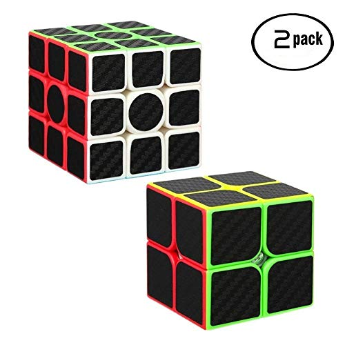 Twister.CK Carbon Fiber 2x2 3x3 Speed Cube Bundle,Magic Cube Puzzle ,Brain Teaser Cube Puzzles Ultimate Ideal Christmas Birthday Party Gifts for all Ages.