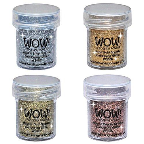 WOW! Sparkle Bundle - Embossing Powders 4 (15ml) Jars Metallic Gold Sparkle, Metallic Copper Sparkle, Pearl Gold Sparkle and Metallic Silver Sparkle by Wow! Embossing Powder