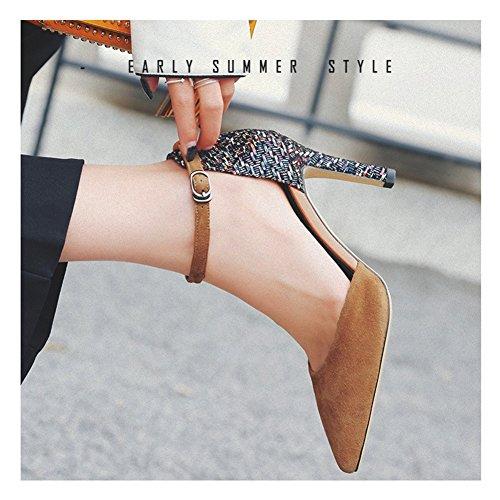 Estate Marrone Nvxie Nero Stiletto Col Brown Scarpe Donna Pompe Tacco Partito Alto nqw87vgwxH