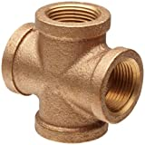 Merit Brass Brass Pipe Fitting, Class 125, Cross, 1/2'' National Pipe Taper Thread Female (Pack of 25)