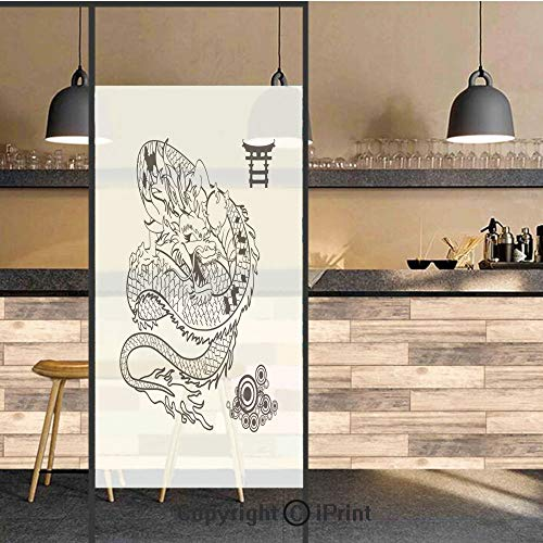 (3D Decorative Privacy Window Films,Tattoo Art Style Mythological Dragon Figure Monochrome Reptile Design,No-Glue Self Static Cling Glass Film for Home Bedroom Bathroom Kitchen Office 24x36)