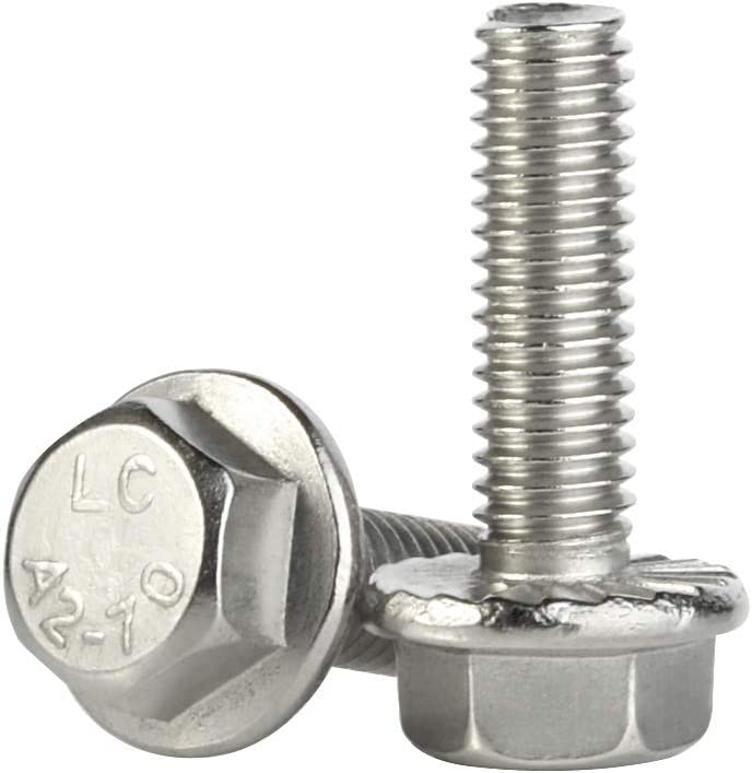 A2 Stainless Steel Flanged Hex Head Bolts Flange Hexagon Screws DIN 6921 M10 x 40-2 Pack