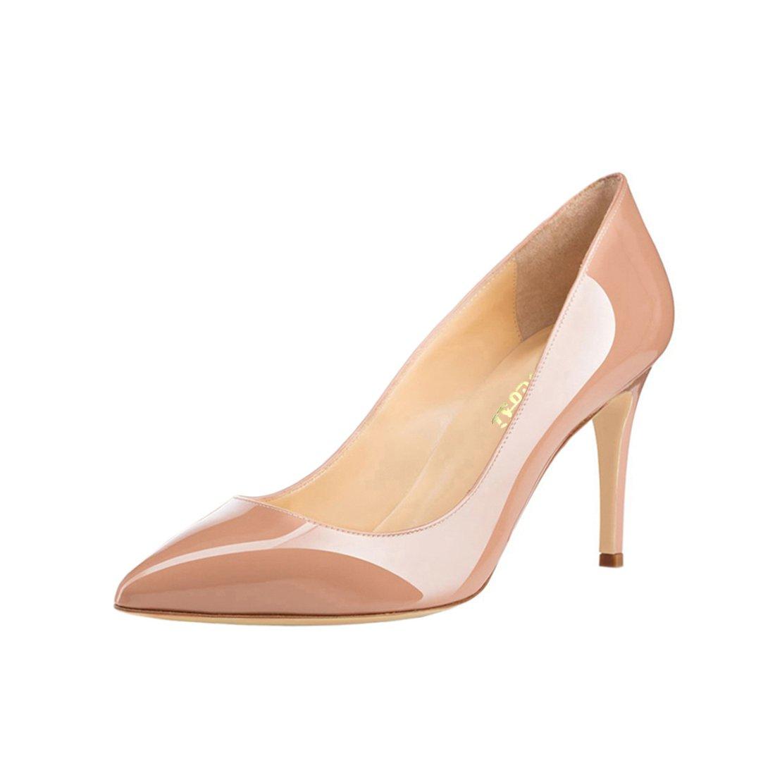 VOCOSI Women's Basic Simple High Heels Slip On Closed Pointed Toe Ladies Dress Pumps B078W6XTQ7 12 B(M) US|Nude-patent