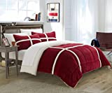 Chic Home 2 Piece Chloe Sherpa Comforter Set, Twin X-Long, Red
