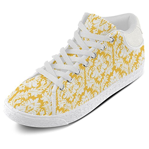 Yellow Women White Damask Shoes Artsadd Pattern Canvas Chukka Model003 Sunny and For 5Hwq5OF