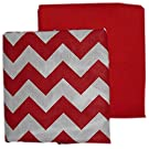 Baby Doll Bedding  Chevron and Solid Crib Sheets, Red