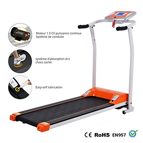 Folding Electric Treadmill Running Machine Power Motorized for Home Gym Exercise Walking Fitness (1.5 HP - Orange - Not Incline) by ncient (Image #1)