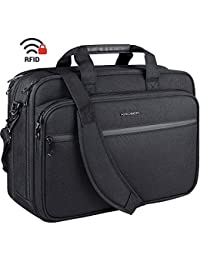 "18"" Laptop Bag Premium Laptop Briefcase Fits Up to 17.3 Inch Laptop Expandable Water-Repellent Shoulder Messenger Bag Computer Bag with RFID Pockets for Travel/Business/School/Men/Women-Black"