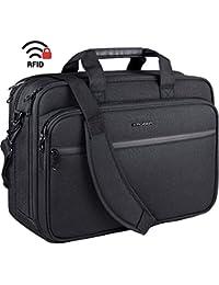 "18"" Laptop Bag Premium Laptop Briefcase Fits Up to 17.3 Inch Laptop Expandable Water-Repellent Shoulder Messenger Bag Computer Bag with RFID Pockets for Travel/Business/School/Men/Women-Black"