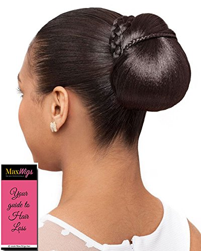 Micro Dome Hairpiece Color 1 Black - Foxy Silver Wigs Petite Ballet Formal Bun Updo Mini Braids Synthetic African American Lightweight Bundle w/MaxWigs Hairloss Booklet