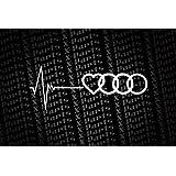 """'Autocollants """"Audi Love Cœur Mon cœur propose pour Audi Stickers voiture Blanc"""