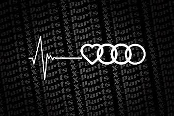 Audi Car Sticker White With Heartbeat And Audi Symbol Heart - Audi car symbol