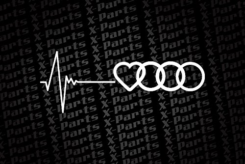 X Parts Audi Car Sticker White With Heartbeat And Audi Symbol