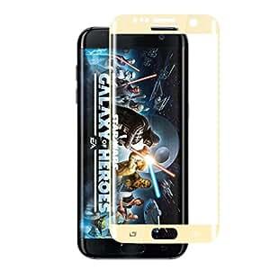 Protector de pantalla para S7 Voberry Edge, Edge® Samsung Galaxy S7 Protector de pantalla de vidrio templado cobertura completa de pantalla Ultra resistentes Glass Screen Protector para Samsung Galaxy, S7, Edge, color dorado