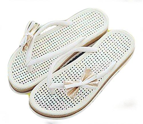 del Sandalias Blanco mujeres de crema las del NEWZCERS tirón playa del la de verano la de deslizadores palabra arco ZHx8wd