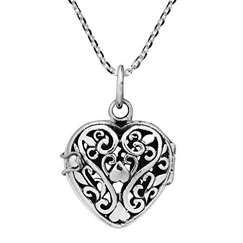 AeraVida Romantic Filigree Heart Locket .925 Sterling Silver Necklace