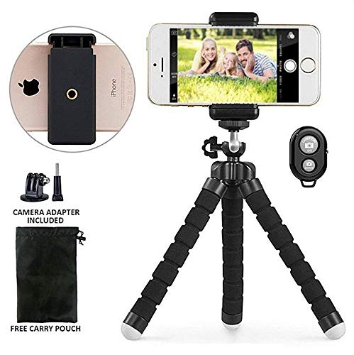 Mobile Bluetooth Action (Gopro Tripod Stand,Octopus Lightweight Adjustable Camera Stand Phone Tripod Holder with Bluetooth Remote and Universal Clip Flexible iPhone Tripod for iphone android Smartphone,Gopro Action Webcamera)