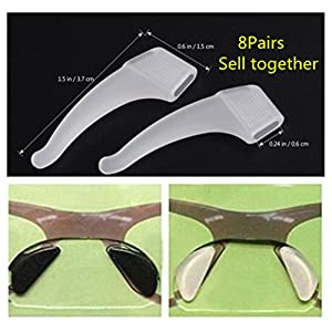 8 Pairs Anti-Slip Nose Pads and Antiskid Ear Hooks for Eyeglasses/Sunglasses/Glasses Spectacles,Made of Silicone
