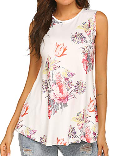 Tobrief Flowy Printed Tanks,Sleeveless Swing Fitted Work Blouse Tops (M, 07 White1)