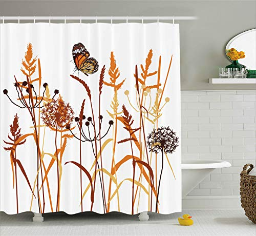 Dandelions Thistles Flower Leaf Seeds Bouquet Monarch Butterfly Wheat Field Wild Nature Art Decor Floral Curtains Print Polyester Fabric Shower Curtain Bath Curtain Extra Long 75
