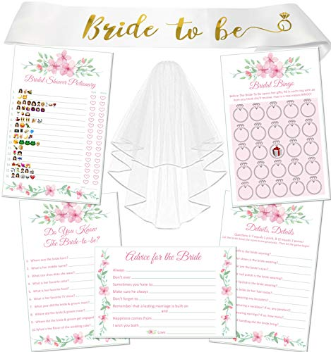 5 Bridal Shower Games (50 Each) + Bride To Be Sash + Wedding Veil | Emoji Game | Wedding Games Cards | Marriage Advice Cards | Do You Know the Bride To Be | Bridal Bingo