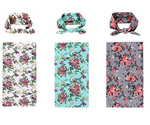 Bigface Up Set of 1-3 Receiving Blankets,Newborn Baby Sleep Blanket With Headband (3 sets(White+Gray+Green))