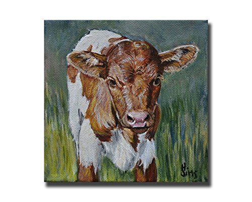Cow Art Print Farmhouse Decor Gift 8x8 inch Matted fits 11x14 Frame, Baby Texas Longhorn Giclee