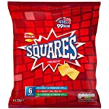Walkers Squares Crunchy Potato Snacks Variety Pack, Salt & Vinegar, Ready Salted, Cheese & Onion Flavours, 6 x 22g