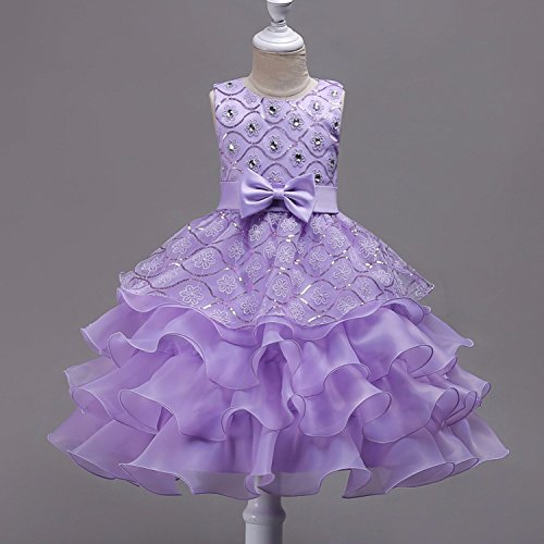 Knee Length Christmas Lace Ruffles Flower Girl Dresses Crystal O-Neck Pageant Dresses for Girls,Purple,Child-5 by Toping Fine girl dress (Image #2)