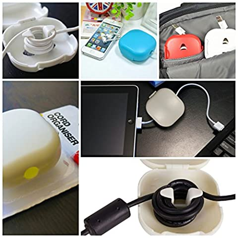 Cord Storage Holder - Cable Shortener - Cord Winder USB - Cable Organizer Headphones - Cord Keeper for Power Cords - Earphone Case Pouch Holder - Cable Turtle - White - Money Turtle