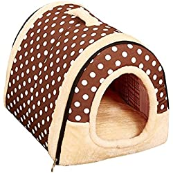 Freerun Portable Soft Sided Plush Pillowed Indoor Small Dog or Cat Convertible Pet House / Bed - DarkDot, L