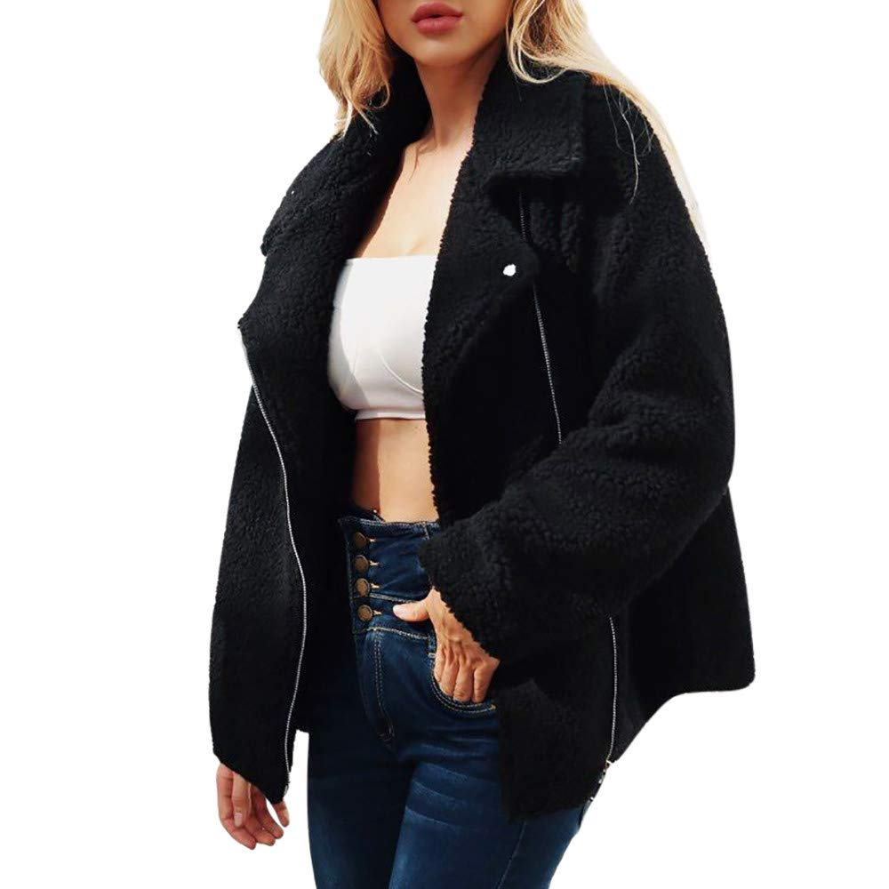 PENGYGY Women Ladies Coat Wool Artificial Hot Zipper Jacket Parka Winter Outwear Outdoor Fashion Pocket by Pengy--Jackets (Image #2)