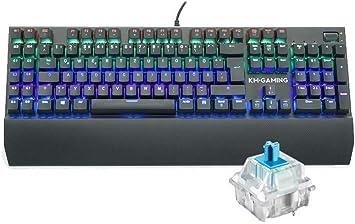 KM-Gaming K-GK2 Teclado mecánico de aluminio RGB USB [con interruptores Cherry MX RGB Blue – táctil, preciso y audible/disposición alemana QWERTZ] ...