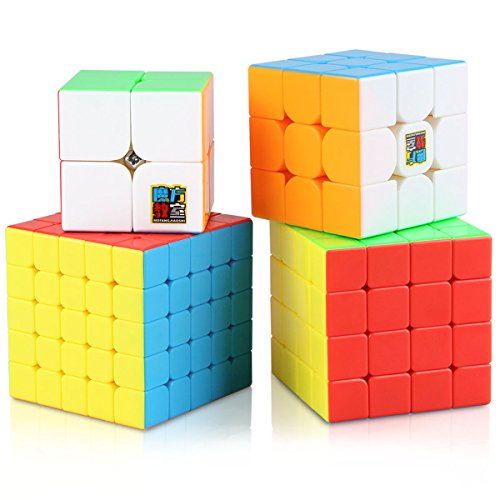 Speed Cube Set, Aitey Moyu Cube Bundle MF2S 2x2 3x3 4x4 5x5 Stickerless Magic Cube Puzzle Toys for Kids Gift Box (4 Pack)