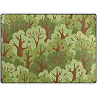 INGBAGS Super Soft Modern Green Deciduous Forest Area Rugs Living Room Carpet Bedroom Rug for Children Play Solid Home Decorator Floor Rug and Carpets 63 x 48 Inch