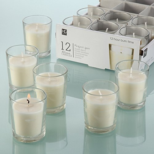 Hosleys-Set-of-12-Unscented-Glass-Votive-Candles