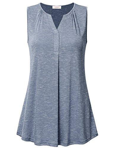 (Women's Sleeveless V Neck Henley Tunic Shirt Loose Pleats Knit Tank Tops Blue XL)