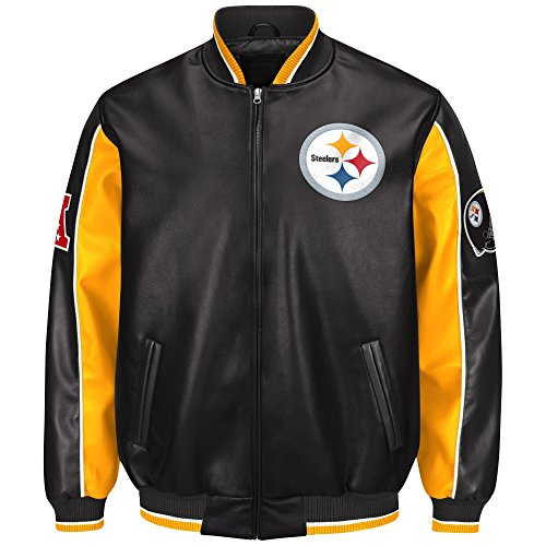 G-III Sports Pittsburgh Steelers Leather Legend Faux Leather PVC (Pittsburgh Steelers Mens Jackets)