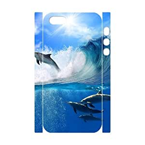 Iphone 5,5S The dolphins 3D Art Print Design Phone Back Case Custom Hard Shell Protection HG076977