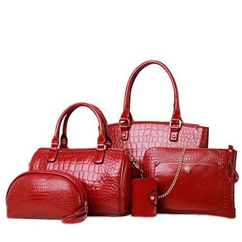 Set 4pcs Bag Tote Holder Card Shoulder Women's Purse Red Leather Handbag Fashion PU ZwWgvqHxR