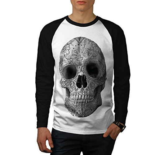 wellcoda Skull Face Painted Mens Baseball Long Sleeve, Tattoo Raglan Shirt White (Black Sleeves) M