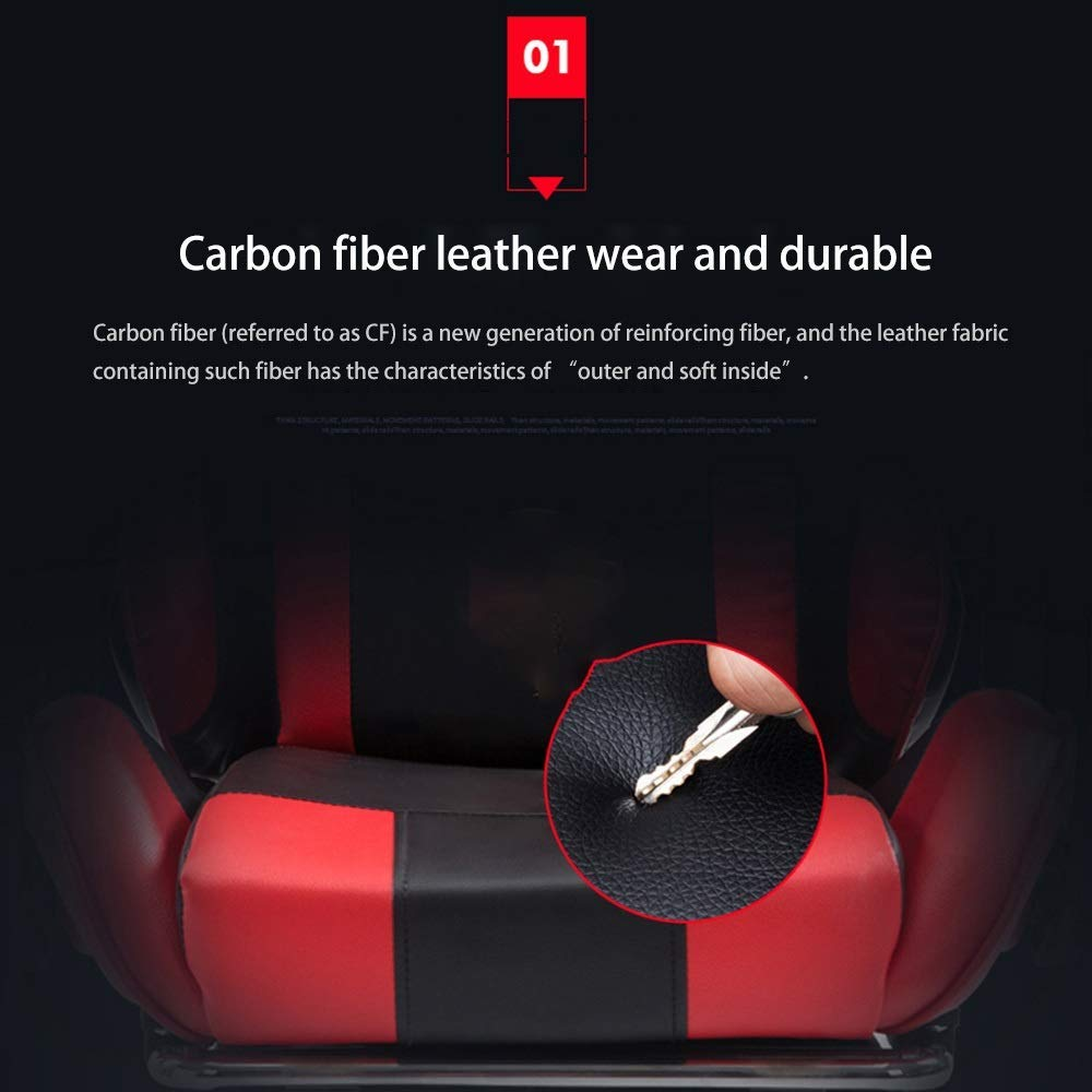 JIEER-C stol kontorsstol ergonomi spelstol, justerbar höjd med fotstöd hög rygg 150 ° vilande multifunktion spelstol nackstöd och ryggstöd, rosa vit Svart, rött
