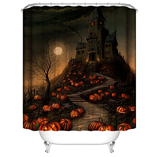 Muuyi Creative Halloween Castle with Pumpkins Shower Curtain, Moon Night Polyester Fabric Bathroom Shower Curtains Set with Hooks - 72×72 -