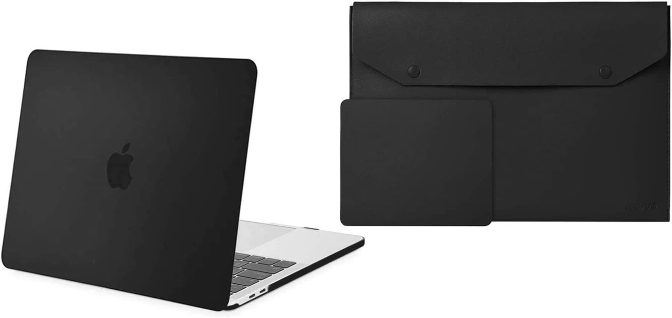 MOSISO MacBook Pro 13 inch Case 2020-2016 Release A2289 A2251 A2159 A1989 A1706 A1708 Plastic Hard Shell Case & Laptop Sleeve Bag Slim PU Leather Carrying Protective Case with Mouse Pad, Black