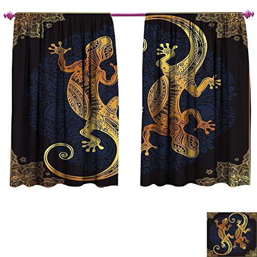 Mandala Blackout Window Curtain Artistic Gecko Lizards Boho Framework Tropical Henna Tattoo Style Customized Curtains W84 x L72 Dark Orange Yellow Dark Blue